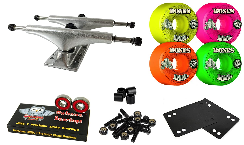 Owlsome 5.0 Polished Aluminum Skateboard Trucksボーン52 mmパーティーパックホイールコンボセット   B07CL1N3Q9