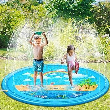 Sooair Juego de Salpicaduras y Salpicaduras, 170 cm Water Spray de Agua Espolvoree y coloque la Alfombra de Juego, Aspersor de Juego para Actividades Familiares Aire Libre /Jardín/Playa: Amazon.es: Juguetes y juegos