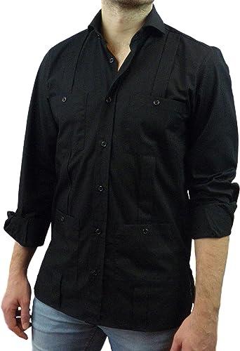Camisa Guayabera Caballero Negra (L): Amazon.es: Ropa y accesorios