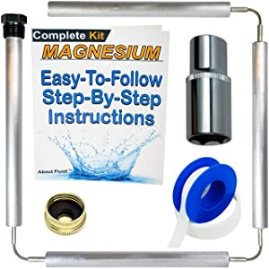 "About Fluid | MAGNESIUM Flexible Anode Rod, INCLUDES 1-1/16"" Hex Socket, Complete Kit for Water Heaters 