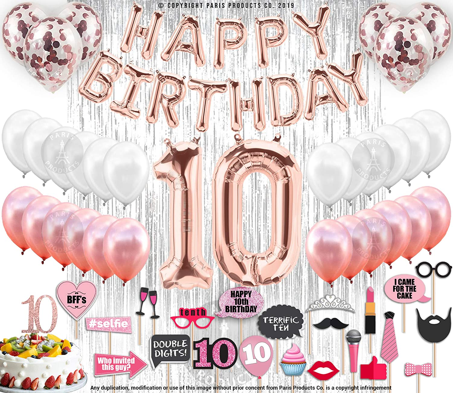 10th Birthday Decorations for Girls with Photo Props | 10th Birthday Balloons| Rose gold Confetti Balloons| 10 year old girl birthday gifts | Gift for 10 Year Old Girl | Party Supplies