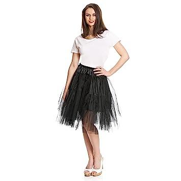 buy online 5d350 a8f0a Kostümplanet® Petticoat - schwarzer, knielanger midi Unter-Rock Deluxe für  Damen mit elegantem 3-lagigen Tüll Tutu und Gummiband zum Verschließen in  ...