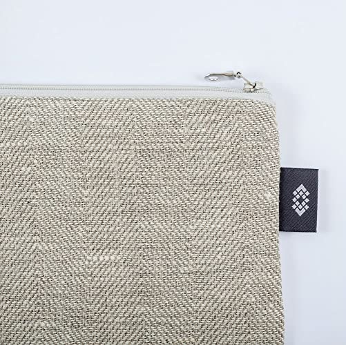 8ccd86ffadefd Kleine weiße Geldbörse Kosmetiktasche - Doppellagige 100% Leinen -  Geldbeutel - iPhone Hülle - Kleine Make-up Tasche - Reisetasche -  Reißverschluss Tasche ...