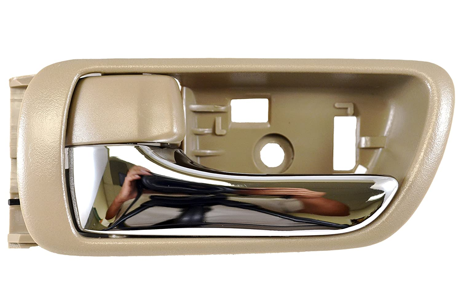 Beige//Tan Housing with Chrome Lever Driver Side Inside Interior Inner Door Handle PT Auto Warehouse TO-2469ME-LH