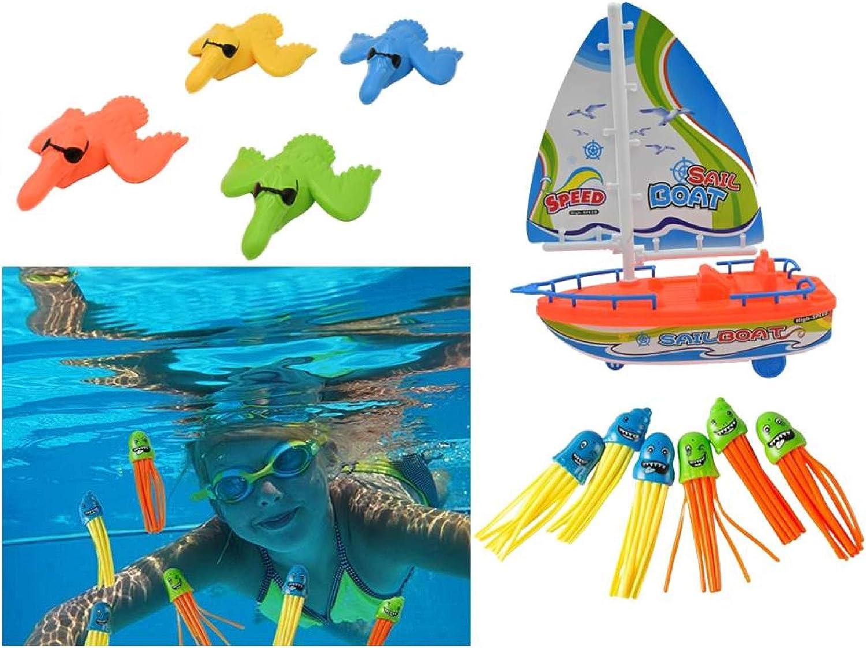 ML jugutes de baños Bebe, Juguetes Bañera Flotante Animales Marinos Pack de 11 pcs de Juguete velero pulpos Patos, Juegos Buceo flotantes para Agua Piscina Baño, Goma Flotante