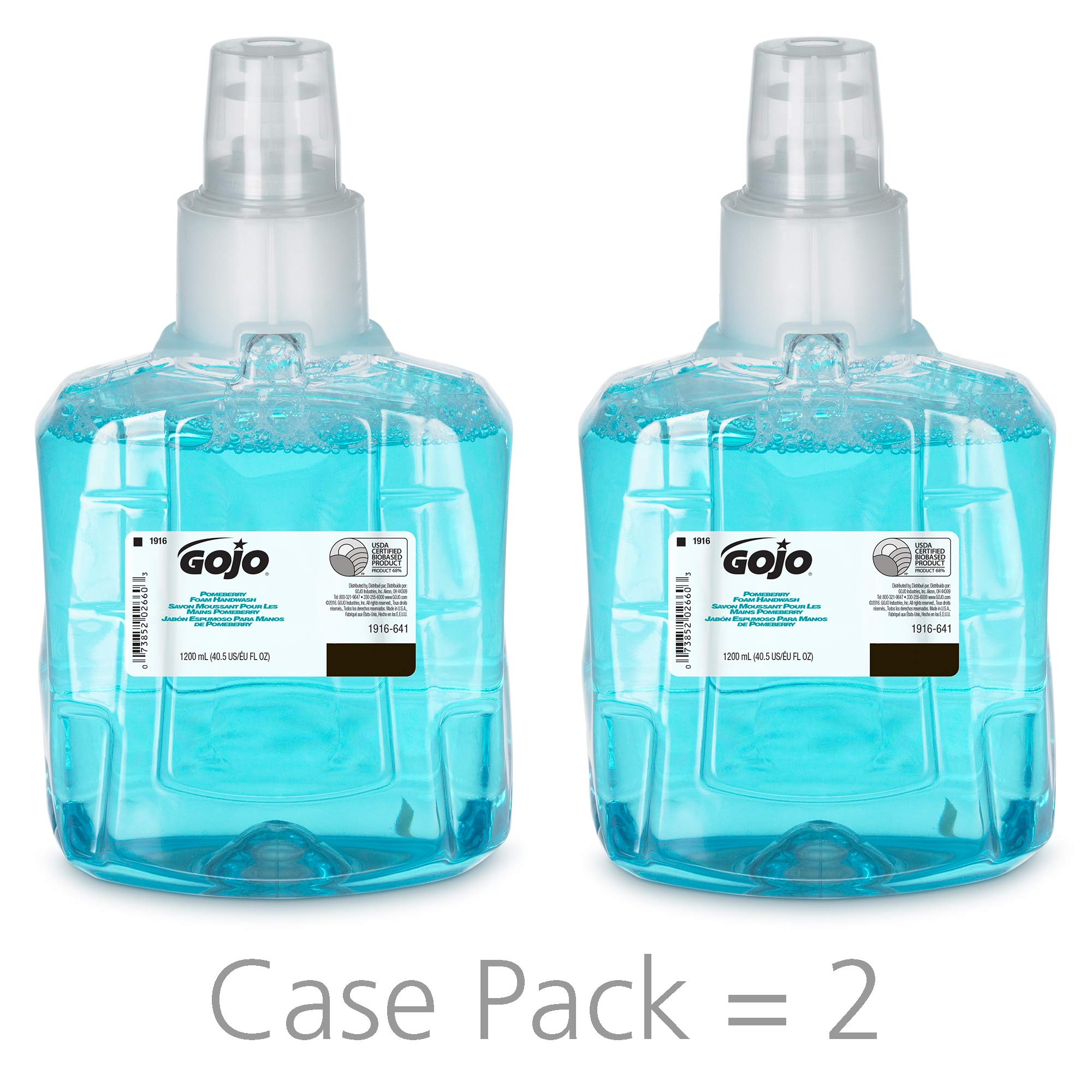 GOJO Pomeberry Foam Handwash, Pomegranate Scent, 1200 mL Hand Soap Refill for GOJO LTX-12 Dispenser (Pack of 2) - 1916-02 by Gojo