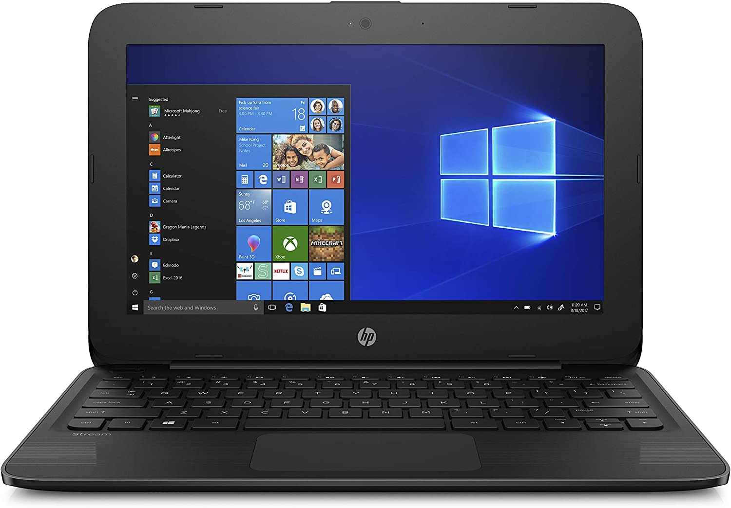 "HP Stream Laptop PC 11.6"" Intel N4000 4GB DDR4 SDRAM 32GB eMMC Includes Office 365 Personal for One Year, Jet Black"