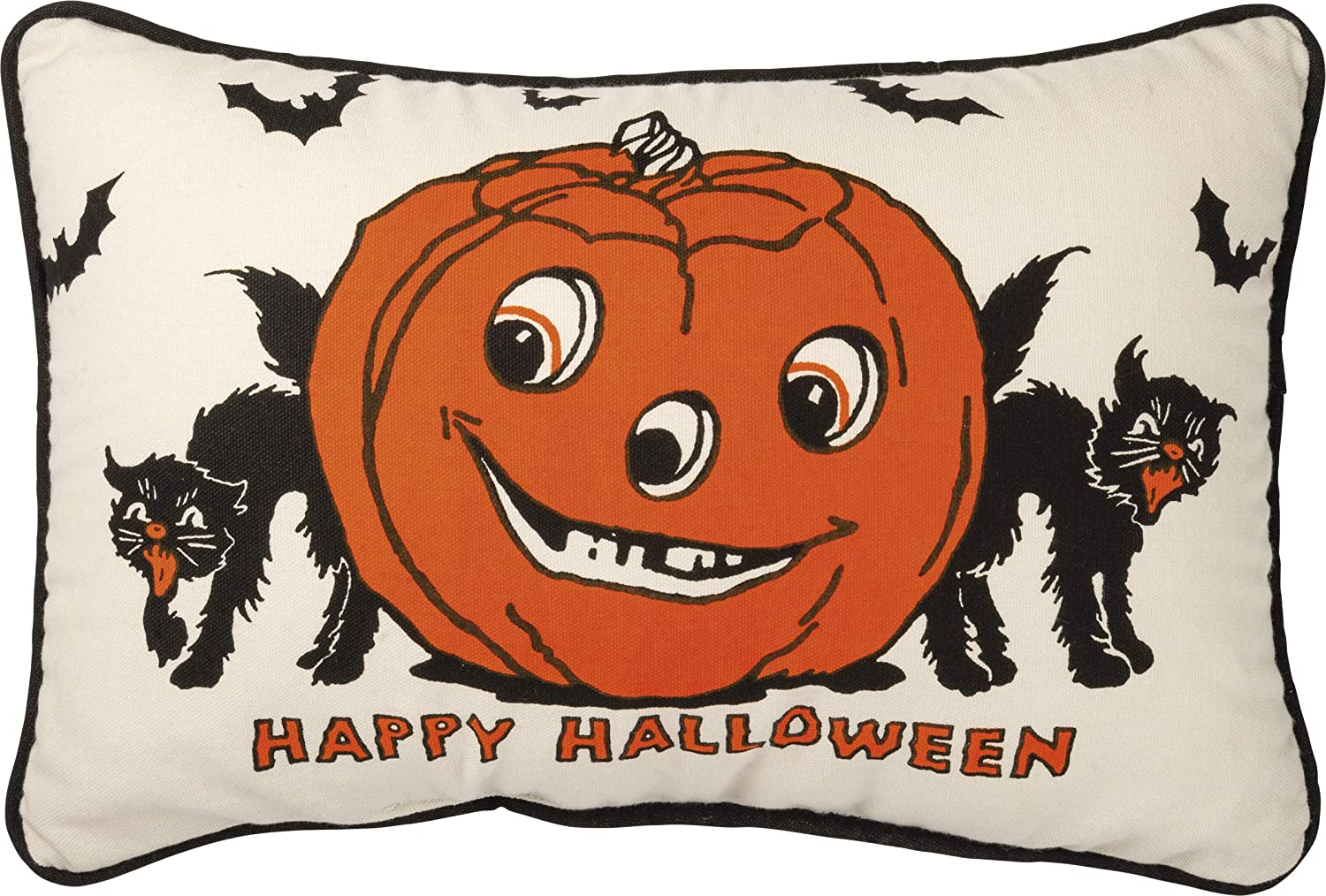 Primitives by Kathy Retro-Inspired Throw Pillow, 15 x 10-Inch, Happy Halloween