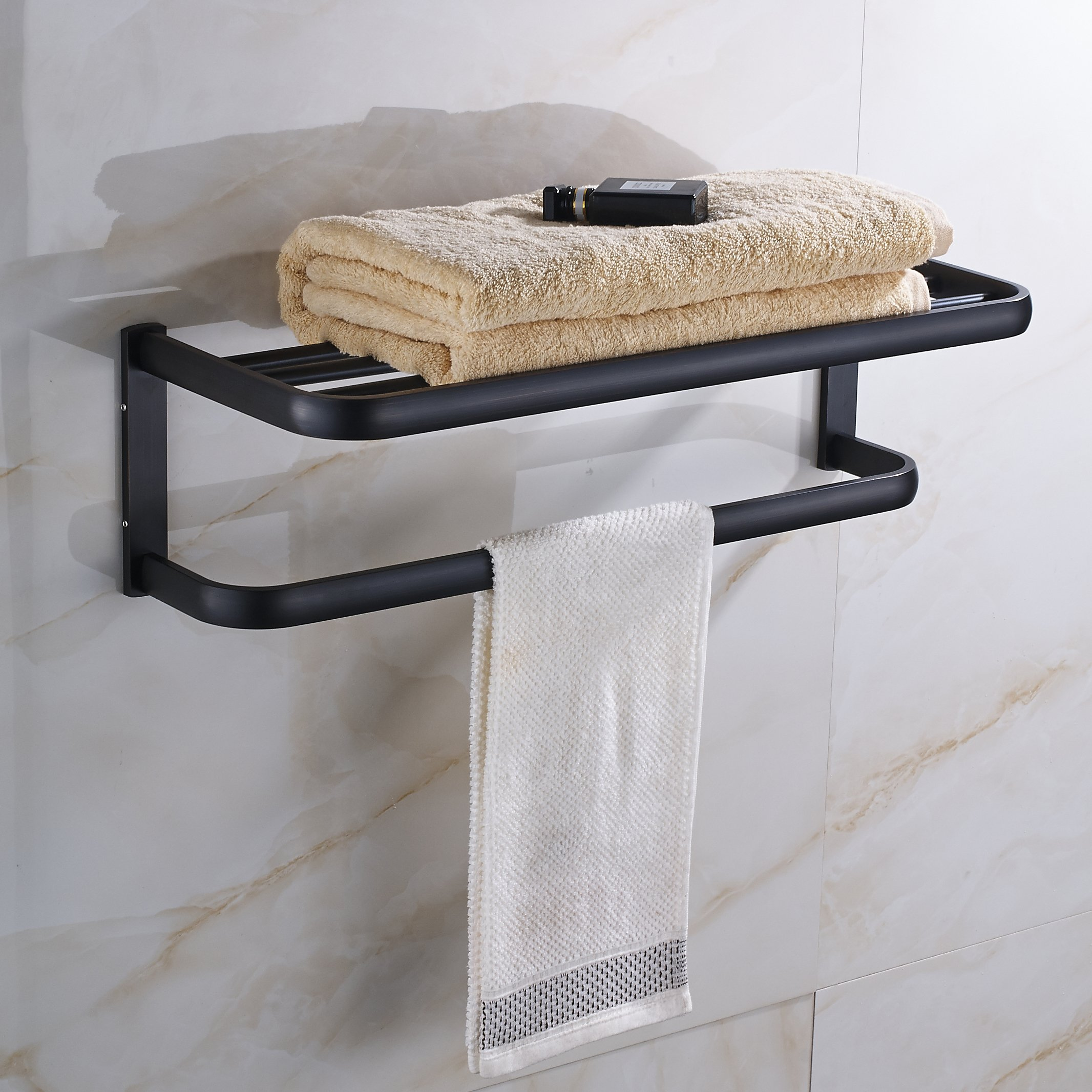 Rozin Oil Rubbed Bronze Bath Towel Holder Shelf Wall Mounted Towel ...