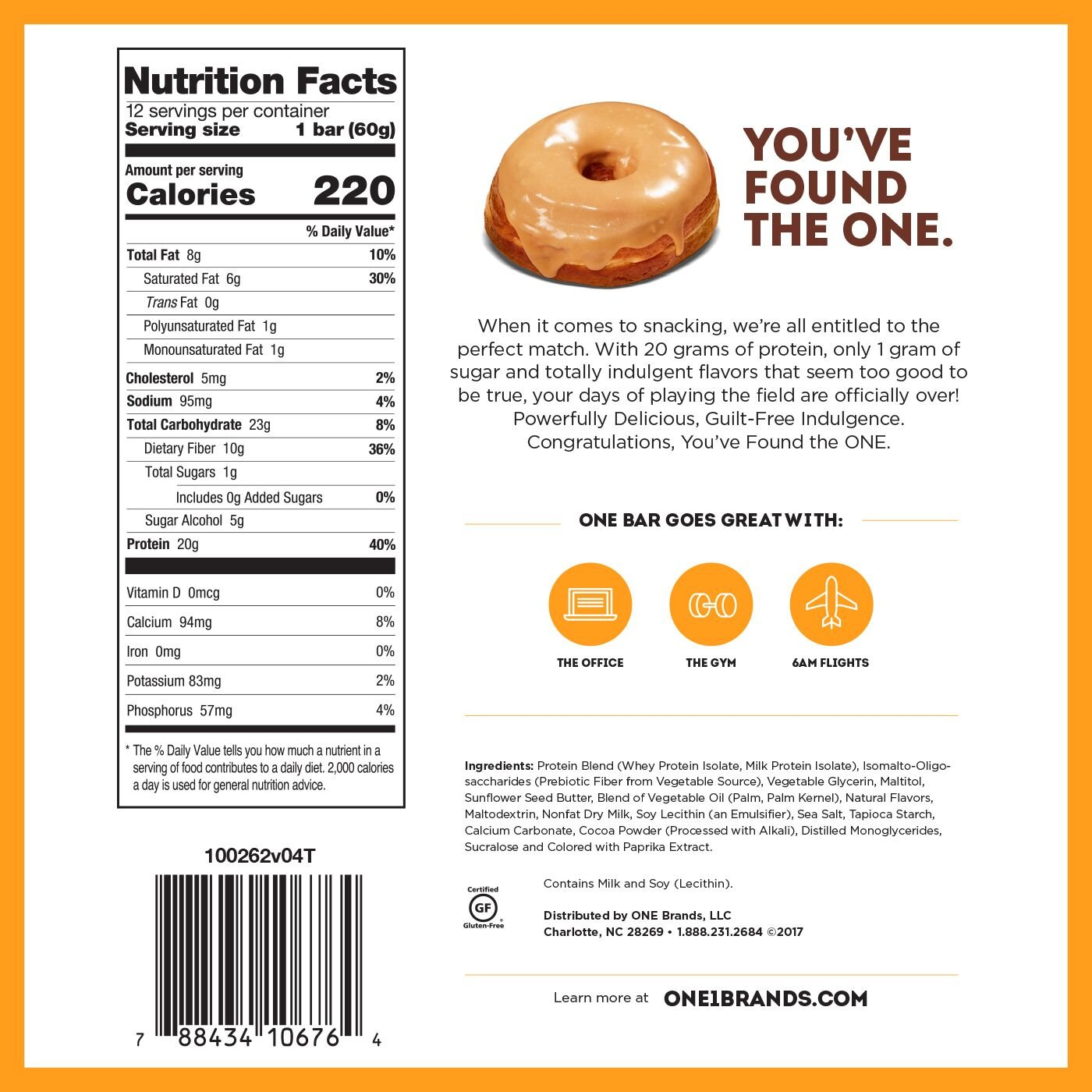 Amazon ONE Protein Bars Maple Glazed Doughnut Gluten Free With 20g And Only 1g Sugar Guilt Snacking For High Diets