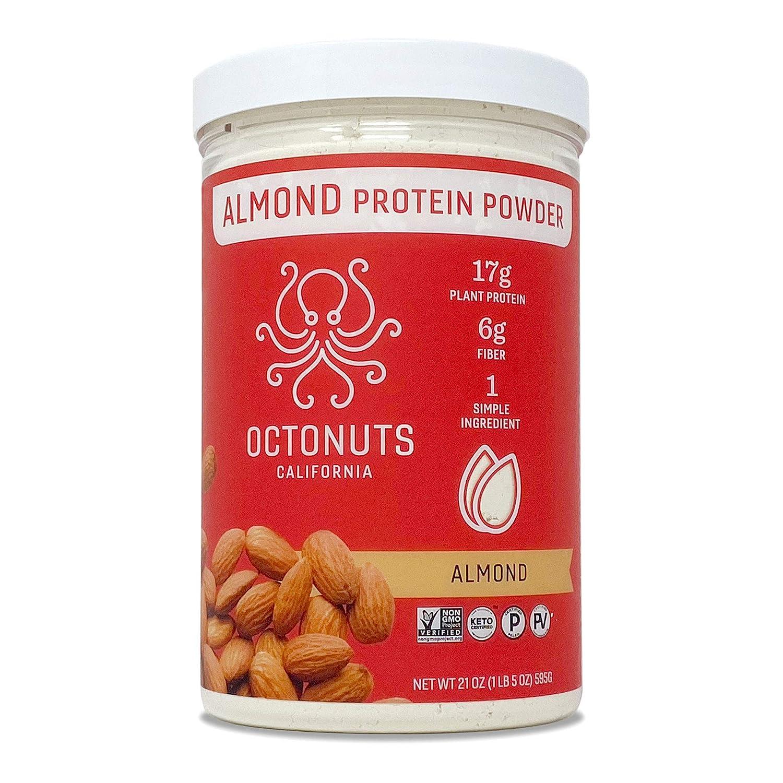 Octonuts Almond California Protein Powder, 21 Ounce Jar, Keto, Paleo Friendly, Vegan, Plant Based, Non GMO, 1 Ingredient