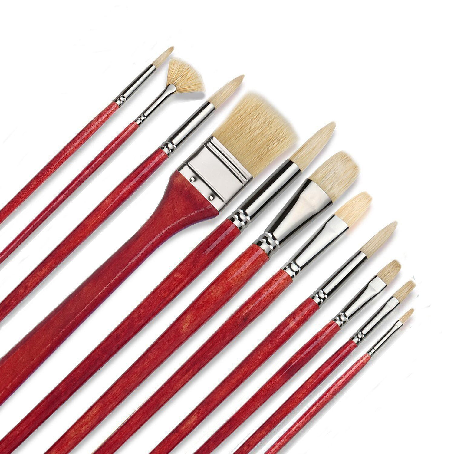 11 pcs Professional Oil & Acrylics Artist Brushes Pure Hog Bristles Lacquered Birchwood Long Handles with a Free ZHOUXF