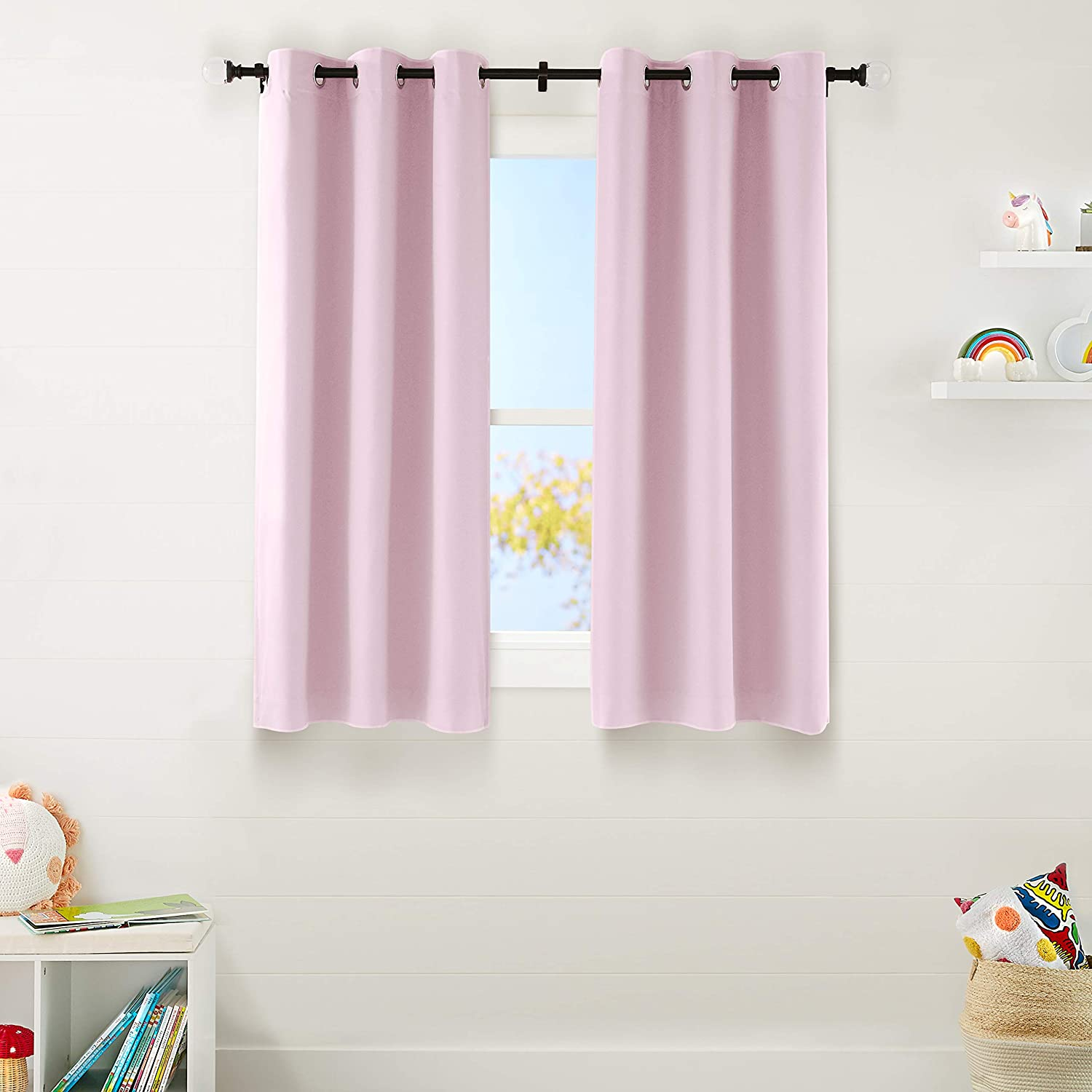 "AmazonBasics Kids Room Darkening Blackout Window Curtain Set with Grommets - 42"" x 63"", Light Pink"