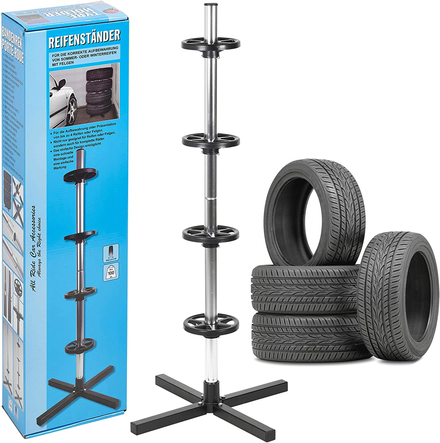 Holds up to 100kg 225 mm Tyre Size Room for 4 Tyres Wheel Tyre Tree Rack Stand