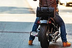 Kuryakyn 5213 Momentum Rambler Motorcycle Travel Luggage: Weather Resistant Roll Bag with Sissy Bar Straps, Black