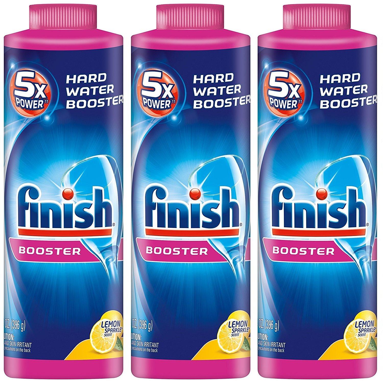 Finish Hard Water DishwashertDYGdH Powder Booster, 5X Power, Lemon Sparkle, 3Pack (14 oz)