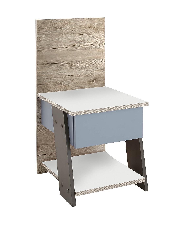 Unbekannt FMD Möbel Nona 3 Nachttisch, Eiche, sandeiche sandeiche sandeiche weiß Lava blau, 34 x 39 x 69.5 cm b2cb0a