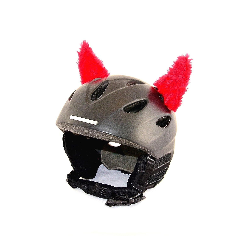 Helm-Hörnchen für den Skihelm, Snowboardhelm, Kinder-Helm, Kinder-Skihelm oder Motorradhelm - verwandelt den Helm in EIN EINZELSTÜCK - für Kinder und Erwachsene HELMDEKO (Fellhörnchen Rot)