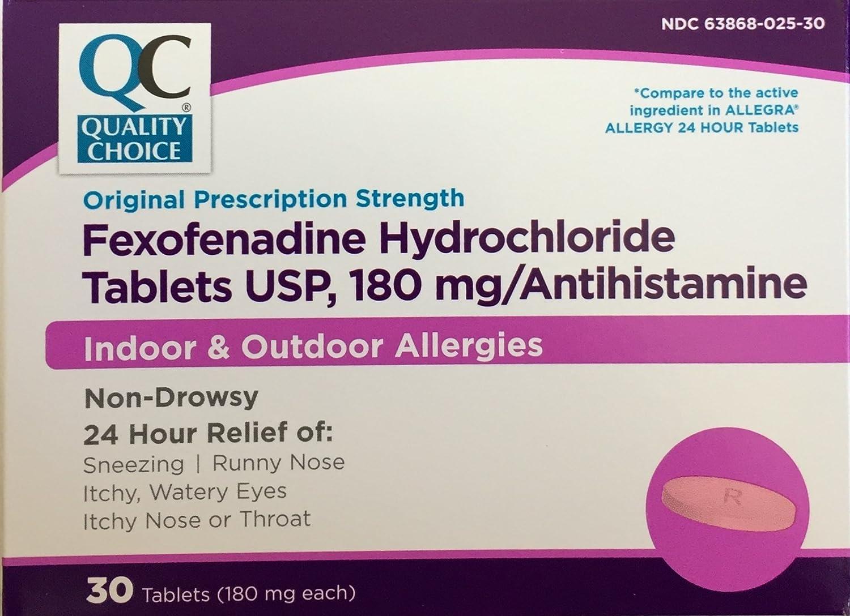 Fexofenadine hcl 180 mg 24 hour.doc - Amazon Com Fexofenadine 180 Mg Generic For Allegra 24 Hour Allergy Relief 30 Tablets Per Box Health Personal Care