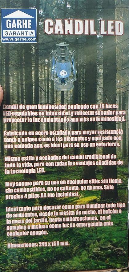 CANDIL FAROL 16 LEDS INTENSIDAD REGULABLE FUNCIONA 4 PILAS NO INCLUIDAS  17850