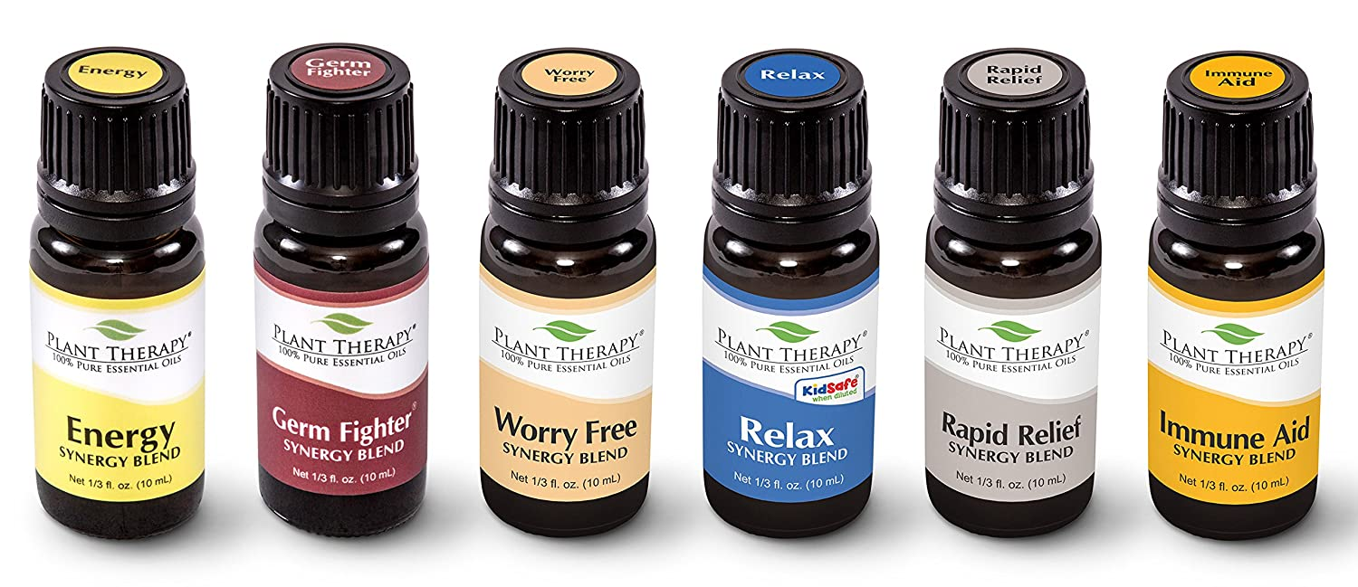 Plant Therapy Top 6 Essential Oil Synergies Set. Includes: Stress Free, Energy, Germ Fighter, Relax, Immune-Aid, and Pain Aid. 10 mL (1/3 Ounce) each. Plant Therapy Inc
