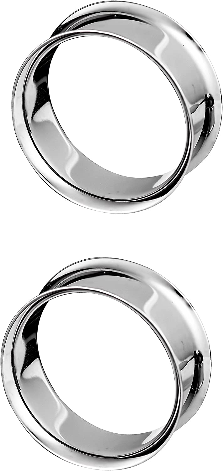 3//4-1 Surgical Grade Stainless Steel High Polish Gauged Earrings Double Flared Tunnel Plugs