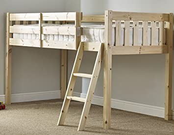 7258dd51773f Childrens Cabin bed 3ft single pine with 20cm thick QUILTED mattress ...