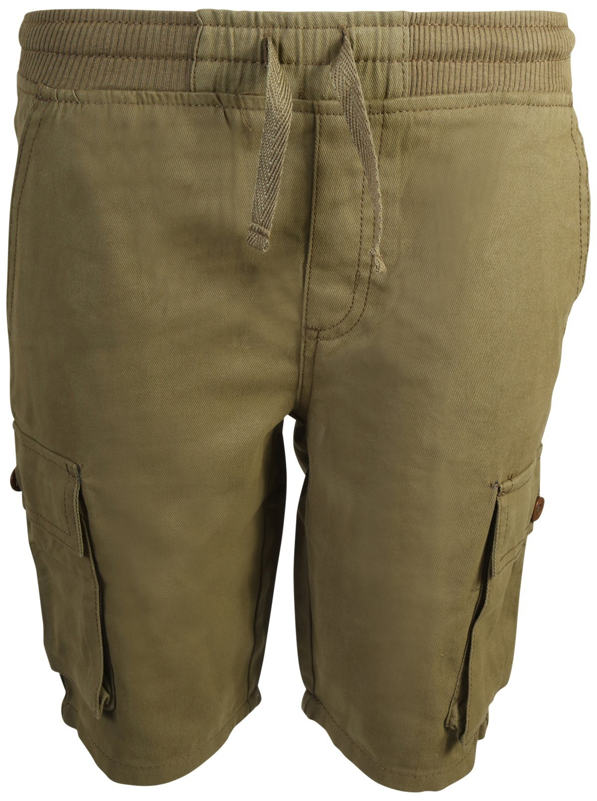 Quad Seven Boys Pull-On Twill Cargo Shorts, Olive, Size 6'