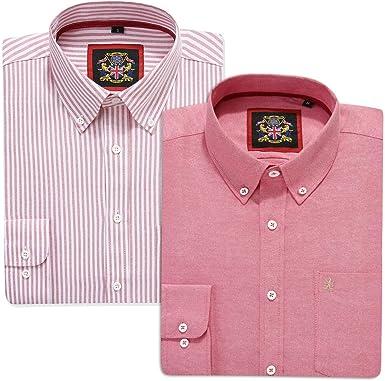 Camisa de manga larga para hombre, cuello inglés Oxford con botones y bolsillo. 12 colores lisos y versión de patrón a rayas a juego. Paquete de dos o ...