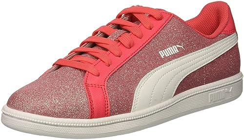 PUMA Unisex Smash Glitz Glamm JR Sneaker, Paradise Pink White, 4 M US Big
