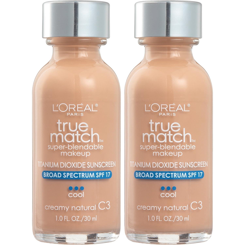 L'Oreal Paris Cosmetics True Match Super-Blendable Foundation Makeup, Creamy Natural C3, 2 Count