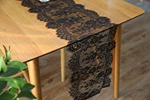 Lanting Home Decor 2 Pieces Black Lace Table Runner 14 X 120 inches for Vintage Halloween Thanksgiving Christmas Baby Bridal Shower Party Decorations