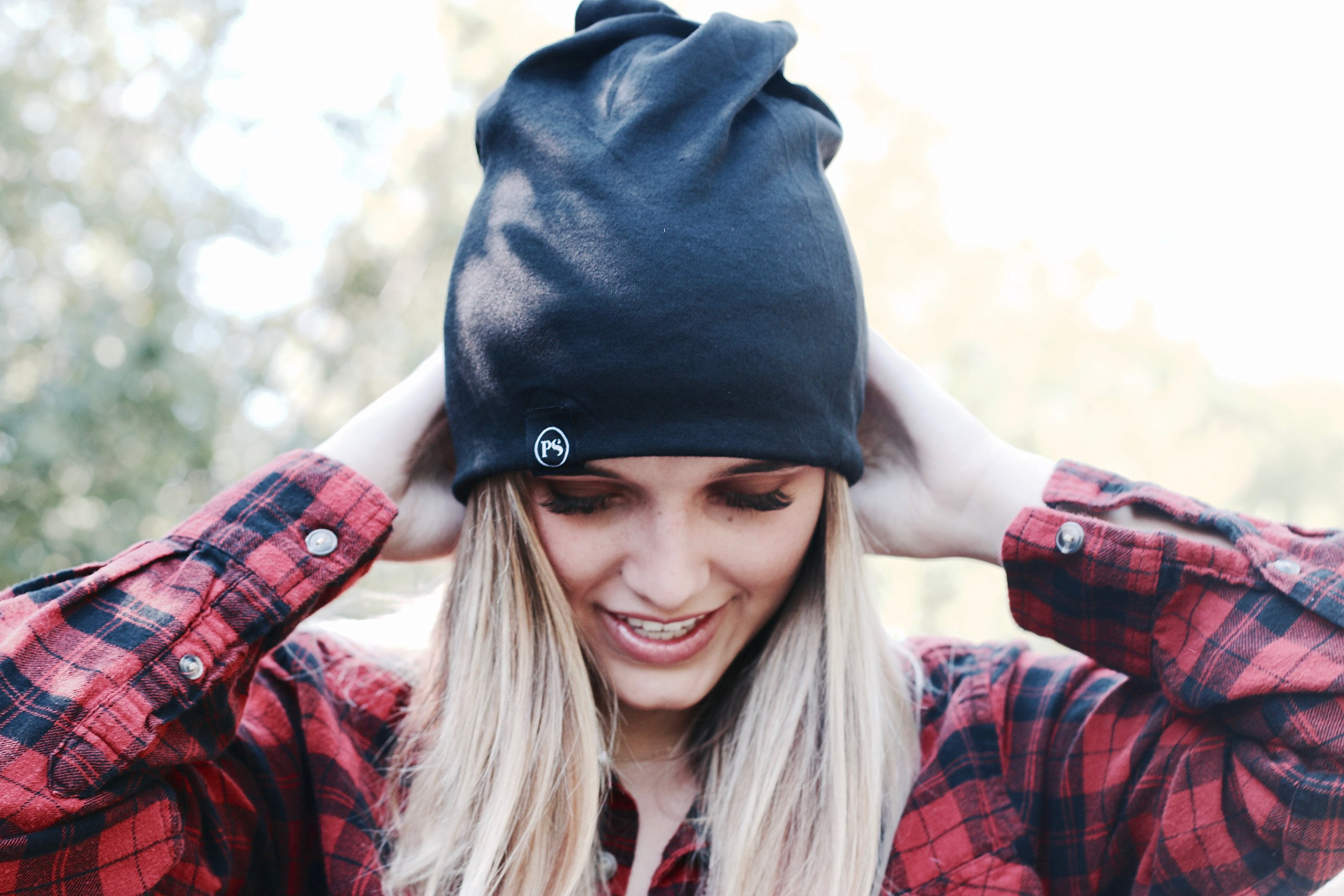 Peek a Boo Women's Beanie Slouchy Beanie with Hole for Pony Tail or Sloppy Bun perfect for Work Out by Pretty Simple (Black) by Pretty Simple (Image #10)