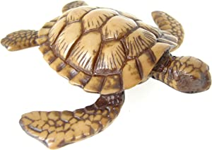 Blue Orchid Small Resin Sea Turtles - Loggerhead Sea Turtle Figure - Good Luck Feng Shui Sculpture Collectible for Table Top or Wall Hanging - 4 Inches (Natural Brown)