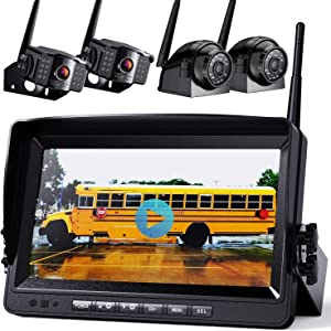 "Wireless Backup Camera with Built-in Recorder 9"" FHD Monitor for Truck Rear View Reversing Backing Up Camera With Extra Stable Signal IP69 Monitor System for RV Trailer Bus Motorhome Camper Xroose WX4"