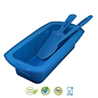 BACKHAUS FLEXBAKE NonStick Silicone Loaf Pan with Baking Spatula and Cake Knife , 100% BPA Free , Heat Resistant Cake Mold Set | 5 Years Warranty | Ø 23cm | Blue
