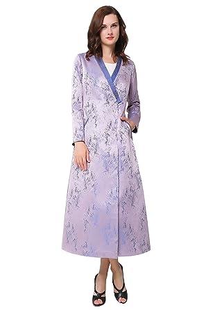 Voa Women S Purple Silk Straight Trench Coat Dress F7130 At Amazon