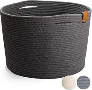 Extra Large Blanket Basket for Living Room - Cotton Rope Basket Woven Storage Basket for Blankets, Towels, Pillows and Toys   Charcoal Gray (21 inches x 13.8 inches)