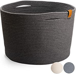 Large Cotton Rope Basket - Woven Shoe Basket for Entryway Decorative Floor Storage Basket for Shoes, Pet Toys, Laundry or Blankets | Charcoal Gray (45cm W x 29cm H)