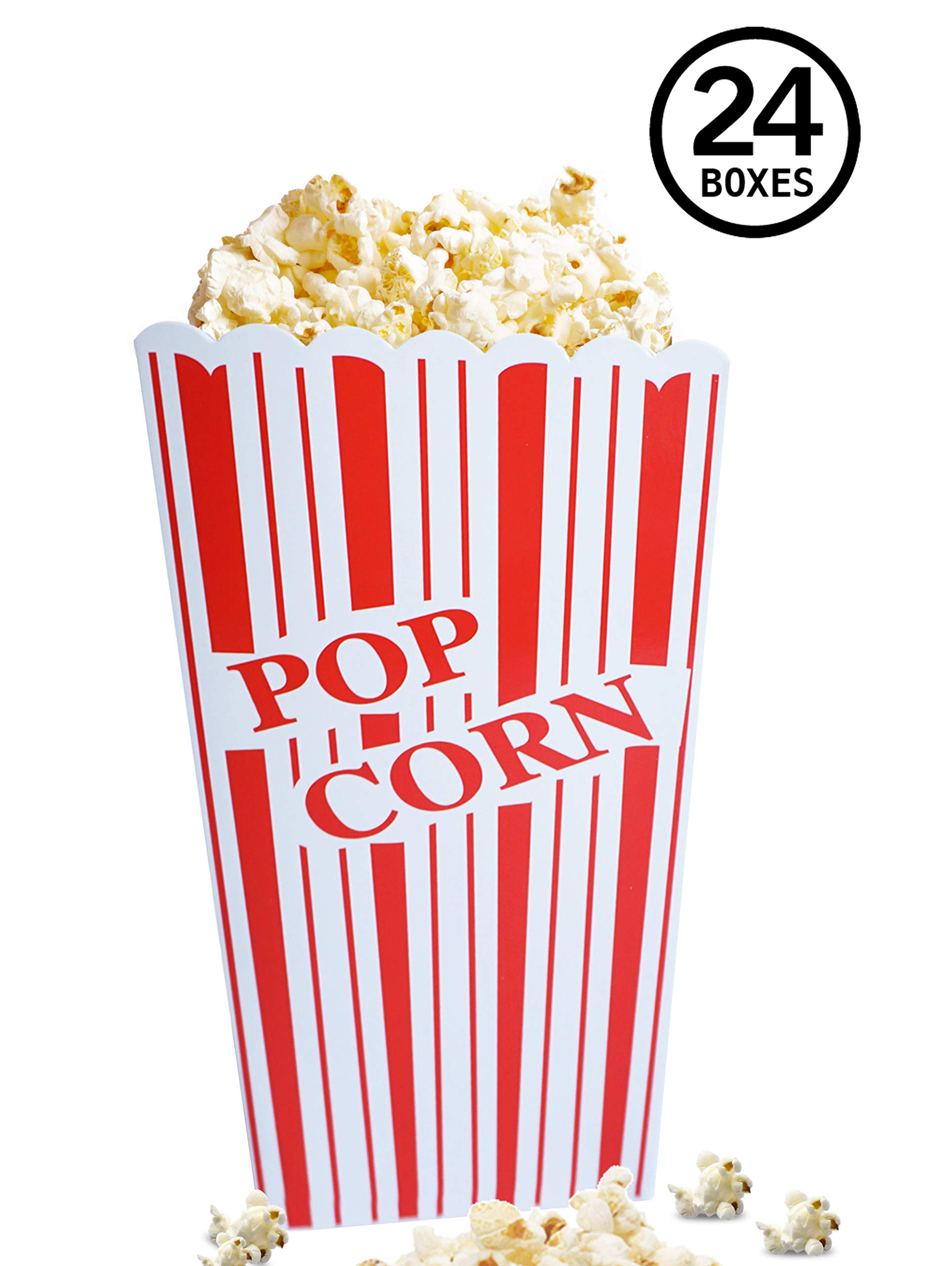 Red and White Popcorn Boxes for Party, Easy Assembling Popcorn Holders from Cestash, Pack of 24, 350 gsm Trendy Paper Popcorn Bags for Parties, Picnics, Movie Night by Cestash
