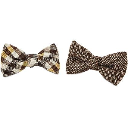 16149e73ba17 Amazon.com : Bond & Co. Plaid and Brown Dog Bow Ties - (One Size ...