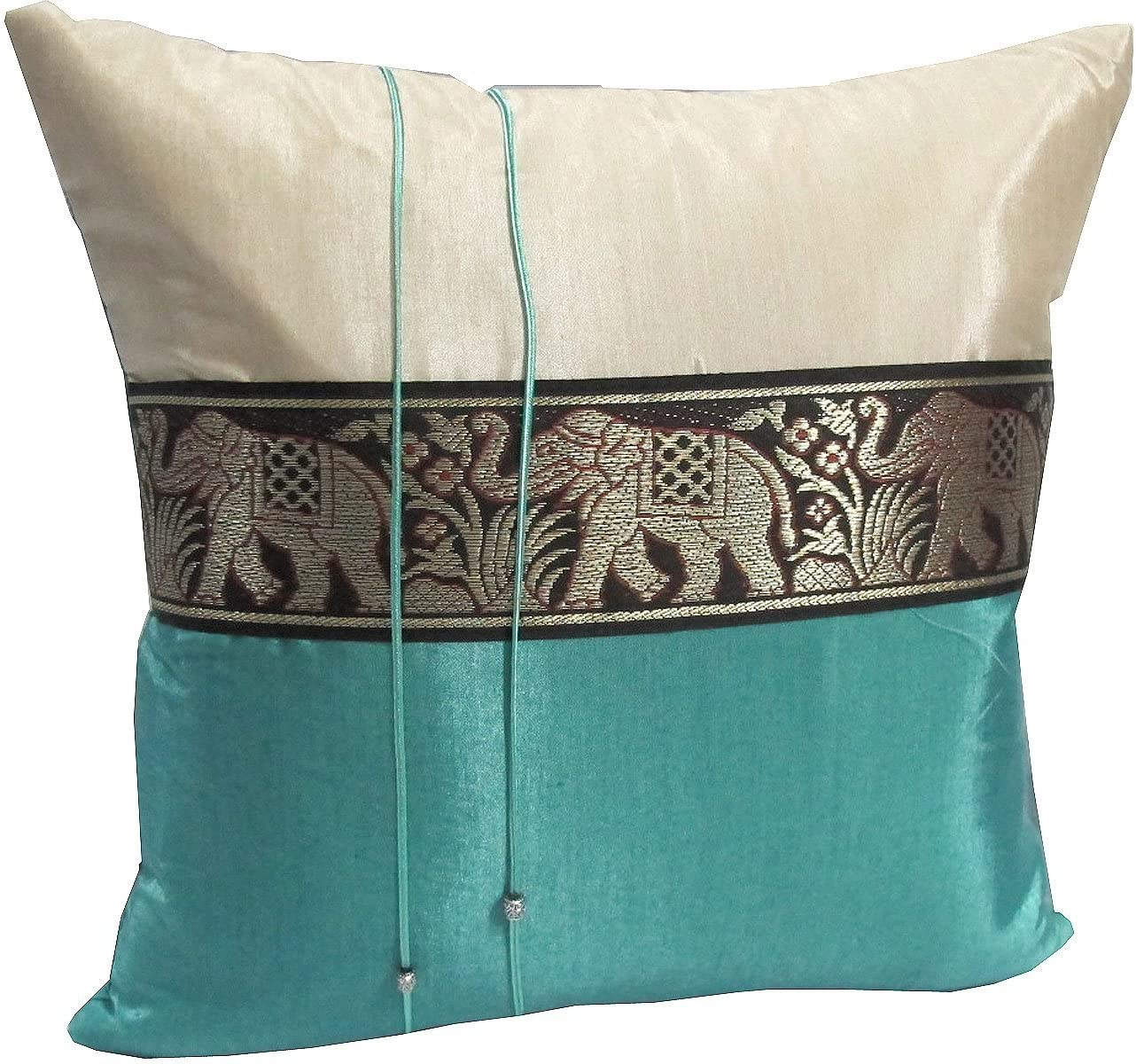 SINGLE 1 BEAUTIFUL BIG ELEPHANT THROW CUSHION COVER PILLOW CASE HANDMADE BY THAI SILK AND COTTON FOR DECORATIVE SOFA, CAR AND LIVING ROOM SIZE 16 X 16 INCHES