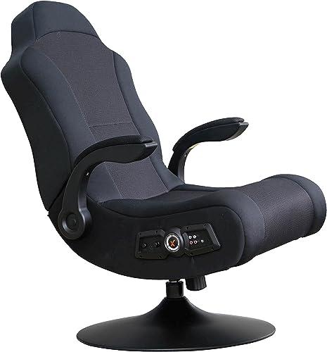 X Rocker Commander 2.1 Sound Wireless Pedestal Video Gaming Chair with 2 Speakers and 4 Subwoofer – Tilt Swivel Design Highback, Polyester Seat – Black, 5142101