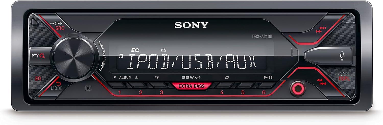 Sony DSX-A210UI - Receptor Multimedia de Coche (Extra Bass, 4 x 55 W, Ecualizador de 10 Bandas, función Karaoke, USB, AOA 2.0, MP3 y FLAC), Color Negro
