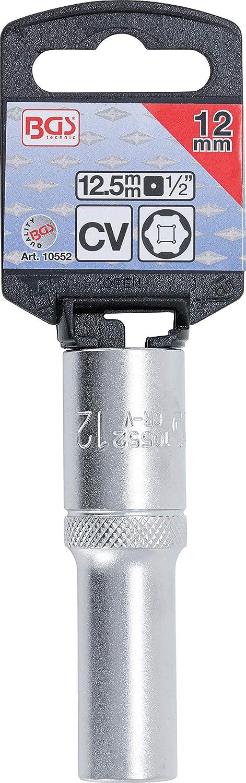 1//2 Inch tief Antrieb Innenvierkant 12,5 mm BGS 9355 Steckschl/üssel-Einsatz Sechskant Schl/üsselweite SW 8 mm
