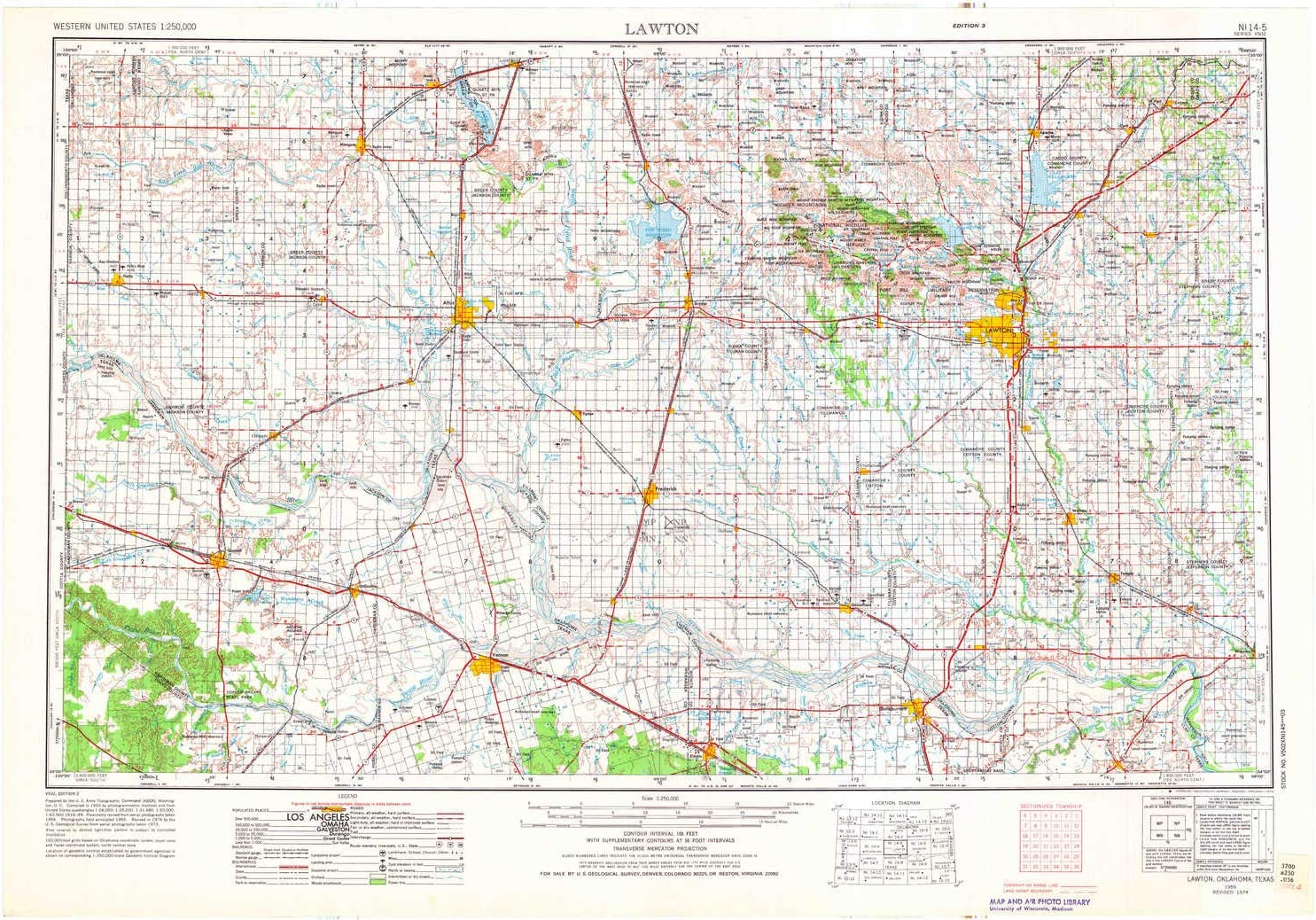 1 X 2 Degree 22.4 x 32.4 in Updated 1976 1:250000 Scale Historical YellowMaps Lawton OK topo map 1955