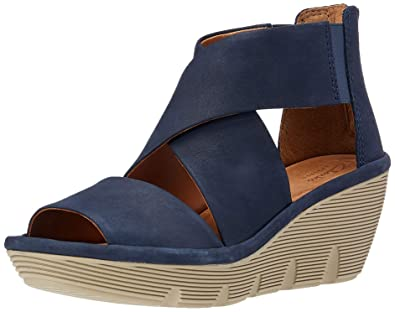 b678d23f995 Clarks Clarene Glamour Womens Wedge Sandals Navy Nubuck 8  Amazon.co.uk   Shoes   Bags