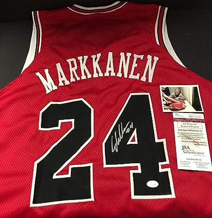 brand new 1d16a 65b82 Lauri Markkanen Autographed Signed Red Custom Jersey JSA COA ...
