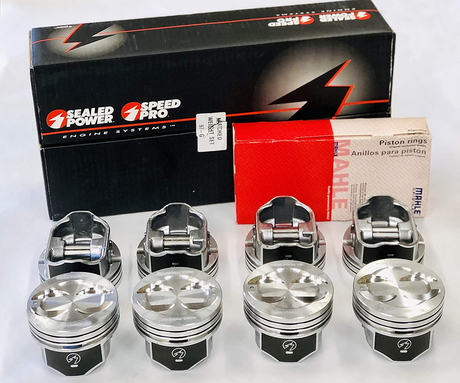 Speed Pro H345DCP 350 Small Block Chevy SBC Flat Top Pistons Coated Piston 5.7 .020 or 4.020 Bore