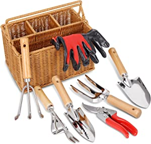 SOLIGT 8 Piece Garden Tool Set with Basket, Stainless Steel Extra Heavy Duty Garden Hand Tools Kit with Wood Handle for Men Women
